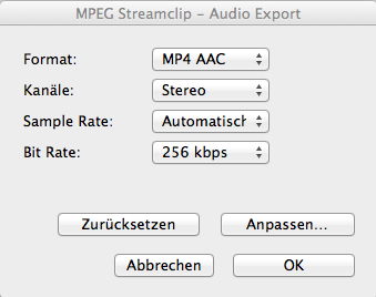 Audio Export Settings