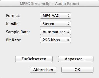 Audio Export Settings